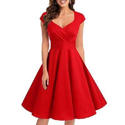 Bbonlinedress Robe Femme de Cocktail Vintage Rockabilly Robe plissée au Genou sans Manches col carré Rétro Red S