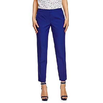 oodji Ultra Femme Pantalon 7/8 avec Ceinture Élastique, Bleu, FR 40 / M
