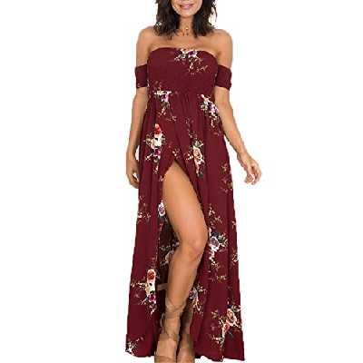 Femme Robe de plage Bohême Longue Floral Ete Sexy Bas Irrégulière Plissée Style Epaule nu Col Beatou (S, rouge)