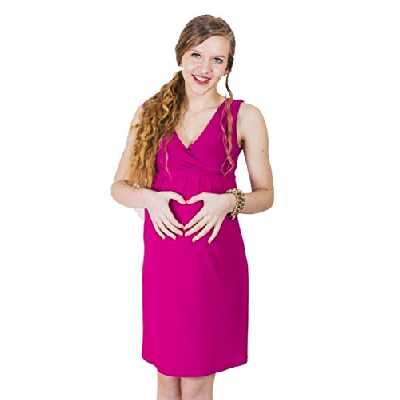 Robe fourreau noire et blanche pour femme enceinte - Rouge - 36
