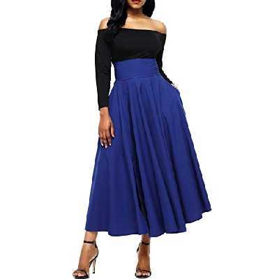 Dokotoo Jupe Femme Longue Haute Taille Casual Plissé Maxi Belted Jupe de Plage avec Deux Poches Bleu S