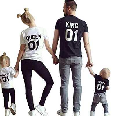 Minetom Maman et Fille Papa et Garçon Famille Equipée Col Rond Manche Courte Lettre Imprimer T-Shirt Tops Vêtements de Famille Blanc Queen FR 40(Maman)