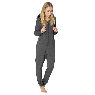 Eight2Nine Combinaison Femme en Sweat | Jumpsuit Douillet | Combinaison Unie et Confortable en Sweat Gris foncé XS/S