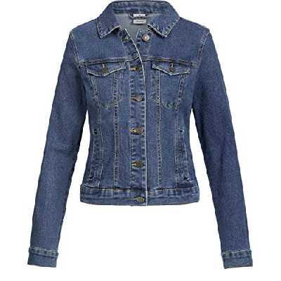 Vero Moda Vmhot SOYA Ls Jacket Mix Noos Blouson, Bleu (Medium Blue Denim Medium Blue Denim), 40 (Taille Fabricant Femme