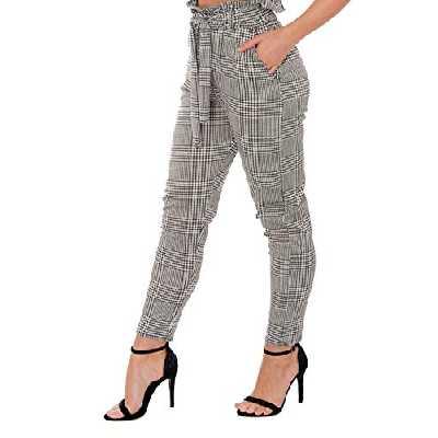 Re Tech UK - Pantalon Cigarette Taille Haute - pour Femme - élastiqué/Slim - Poches/Ceinture - Casual/Bureau - fabriqué en Royaume-Uni - Taille 34-54 - Vichy - UK 8 / EU 36