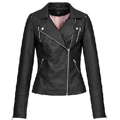 Only Onlgemma Faux Leather Biker OTW Noos Blouson, Noir (Black Black), 42 Femme