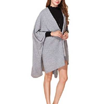 prettystern 100% cachemire uni-couleur poncho étole écharpe pour les femmes chaudes câlin boutons - gris clair