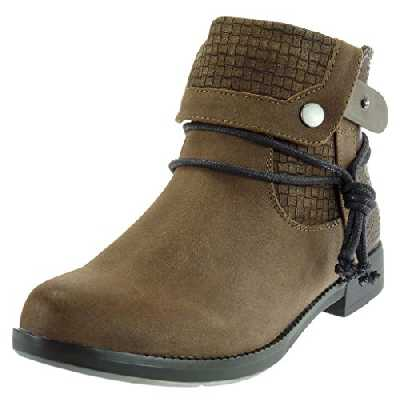 Angkorly - Chaussure Mode Bottine Cavalier Low Boots Femme Croco lanière Finition surpiqûres Coutures Talon Bloc 3 CM - Intérieur Fourrée - Khaki - BE03-03 T 38