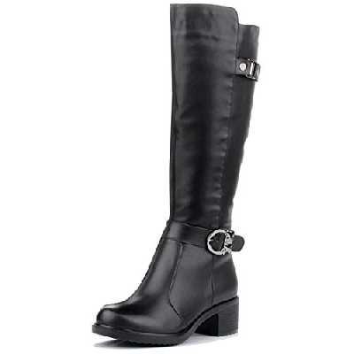 Husk'Sware Mode Femme Bottes en Cuir Occasionnels sur La Plate-Forme de Bottes,Noir,40 EU