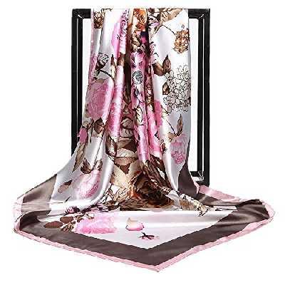 HIDOUYAL Grand Foulard 90x90cm Satin Imprimé Fleurs Multicouleurs,XL,Marron