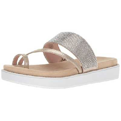 Kenneth Cole REACTION Women's Slam Shot Flat Sandal with Toe Ring and Micro-Jewel Strap, Soft Gold, 6.5 M US