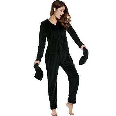 Pyjama pour Femme Unibelle avec Combinaison à Pieds à Capuche, dépendant de la Taille du Corps Noir XXL
