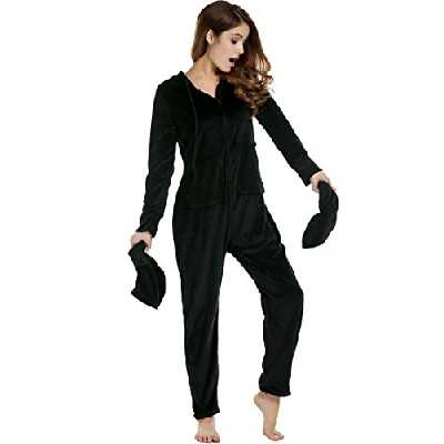 UNibelle Femme Ultra Douce Combinaison Pyjama Onesies à Capuche en Polaire