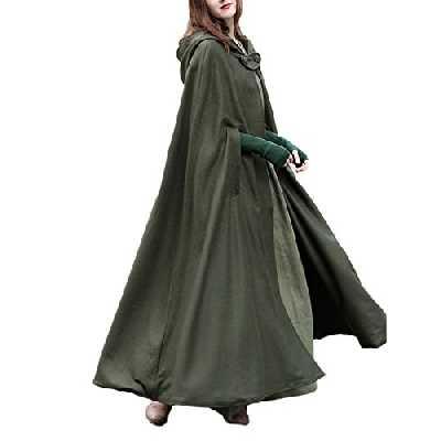 Femme Hiver Automne Élégant Couleur Unie Longue Cape à Capuche Poncho Veste Blouson Manteau Tops Longue Robes Chaude - Armée verte - Taille Large