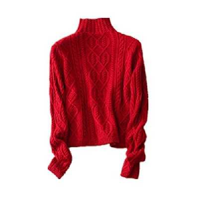 Wenwenma Cachemire Col Haut en Cachemire Pull - Femme - Mode Torsadé Tricoté Pull (Rouge, Small)