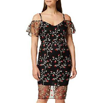 Marque Amazon - TRUTH & FABLE Robe Midi Col Bardot en Dentelle Femme, Multicolore (Black Multi), 44, Label:XL