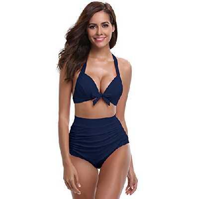 SHEKINI Femme Vintage 1950's Taille Haute Bas Bikini Sexy Dos Nu Maillots de Bain 2 Pièces Push Up Rembourré Ruched Bikinis Deux Pièces Triangle Réglable Swimwear Beachwear (S, Bleu foncé)