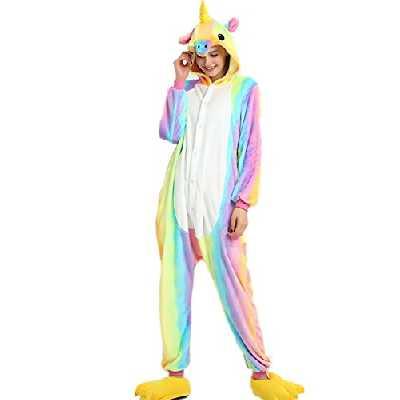 VineCrown Adulte Licorne Pyjama Déguisement Combinaison Costume Grenouillère Nouveauté à Capuche Animal Pyjamas Nuit Vêtements Halloween Carnaval Noël (XL for 177CM-185CM, Rainbow)