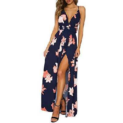 Missy Chilli Femme élégant Robe Longue Bohême Fleur Imprimé en Mousseline Dos Nu Col V Lacé Fendu Robe Maxi Soirée Voyage Plage