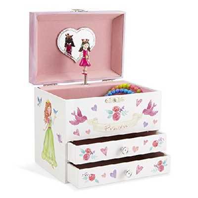Jewelkeeper - Boîte à Bijoux Musicale, Licorne et Princesse Enchantées, avec 2 Tiroirs de Rangement - Mélodie Danse de la Fée Dragée