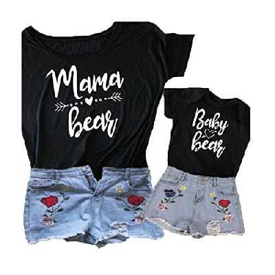 Mama Bear & Baby Bear Maman et Moi Assortis Ensemble Chemise Body, T-Shirt Assorti Familial (Mère M, Mère)