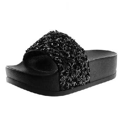 Angkorly - Chaussure Mode Mule Sandale Slip-on Claquettes Plateforme Femme Strass Diamant Brillant Talon Plateforme 4.5 CM - Noir 3 - BY018-5 T 37