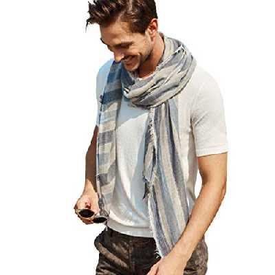 Hilltop Écharpe homme/foulard de marque de haute qualité, fabriqué en Italie, gris bleu