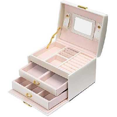 Meerveil Boîte à Bijoux, Boîte a Bijoux Cadeau, Rangement Boîte à Maquillage, Boite a Bijoux de Voyage à 3 Couches en Simili Cuir, avec 2 Tiroirs, Miroir et Serrure(Blanc)