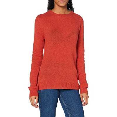 SPARKZ COPENHAGEN Pure Cashmere O-Neck Pullover Pull, Rouge (Sienna Melange 127), M Femme