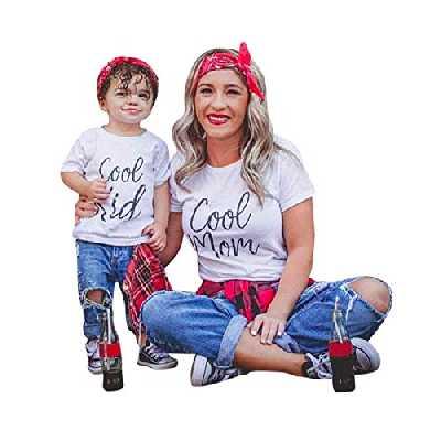 Minetom Mère Fille Père Fils Vêtements Famille Matching Tenues Chemisier Manches Courtes T-Shirt Blouse Parent Enfant Clothes Maman FR 44