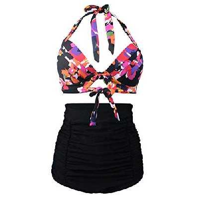 Bslingerie® Femme Taille Haute Bikini Maillots (S, Noir - Floral)