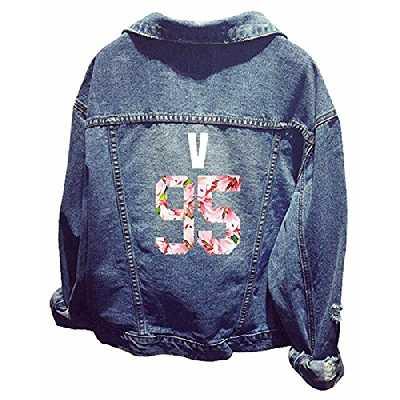 WOOKIT Unisex Blouson en Jeans Kpop Veste en Jeans Denim Manches Longues Jin Suga J-Hope Rap-Monster Jimin V Jung Kook 95v