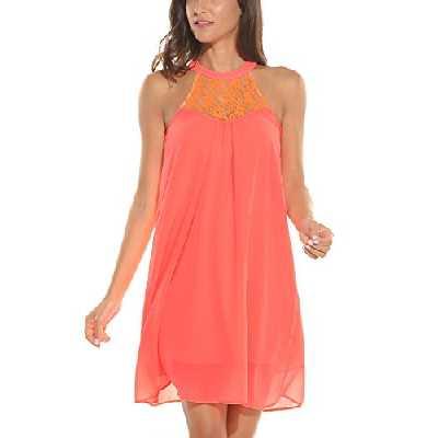 Zeagoo Tunique Robe Femme Soie Col Rond Dentelle Robe sans Manche Orange Blouse Longue - Orange - Small
