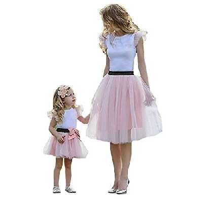 Loalirando Chic Ensemble Eté Mère et Fille T-Shirt Manches Courtes Volant Blanc + Tutu Jupe Tulle Rose (Rose, 2-3 Ans)