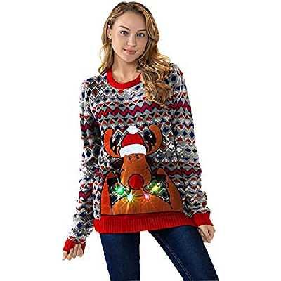 U LOOK UGLY TODAY Chandail de Noël Lumineux, Chandail de Noël Clignotant Drôle, Chandail de Noël pour Femme,Chandails à Manches Longues Chunky Xmas avec Bonhomme de Neige du Père Noël du Renne,