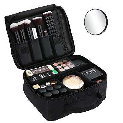esonmus Trousse de Maquillage + 1 Miroir,Grand Sac de Maquillage étanche,Trousse de Toilette Voyage avec Séparateurs Ajustables,pour Hommes et Femmes,Noir