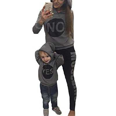 Minetom Maman Bébé Enfant Yes NO Lettre Imprimé Sweat à Capuche Encapuchonné Sweat-Shirt Tops Fille Garçon Pullover Vêtements De Famille Gris FR 42 (Maman)