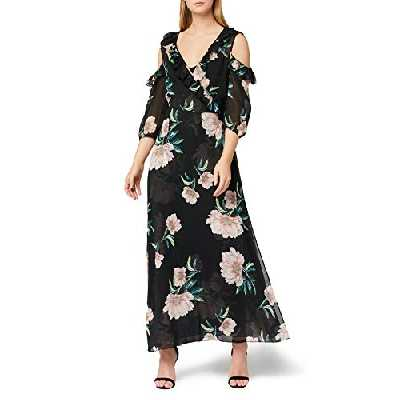 Marque Amazon - TRUTH & FABLE Robe Longue à Fleurs Femme, Multicolore (MULTICOLOUR MULTICOLOUR), 34, Label:XXS