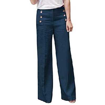 Shujin Femme Pantalon Jambe Large en Coton Lin Couleur Unie Bouton Taille Haute Décontracté Pants Lache Baggy Harem Coupe Droite Trousers Loisirs Loose Casual