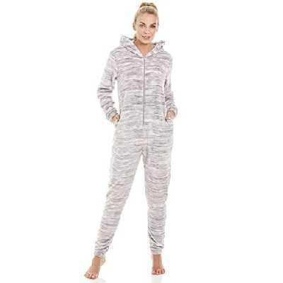 Camille Combinaison Pyjama à Capuche Polaire très Douce - moucheté/Gris 44-46