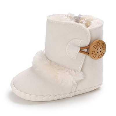 Bébé Bottillons avec Bouton Conception Doux Bas Antidérapant Unique Bambin Neige Bottes l'hiver Chaud des Chaussures (6-12 Mois, Blanc)