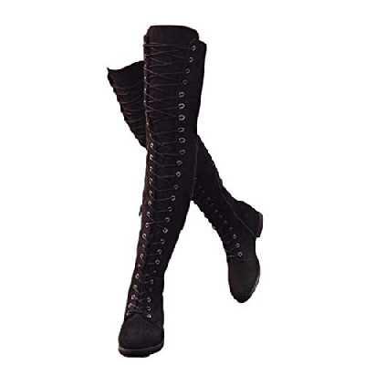 Bottes Femme Talon Bas Genou Haute Suède Bottes Cuissardes Bottines Longue Lacets Mode Sexy Chaussures Noires Vert Kaki Marron 35-43 BK37
