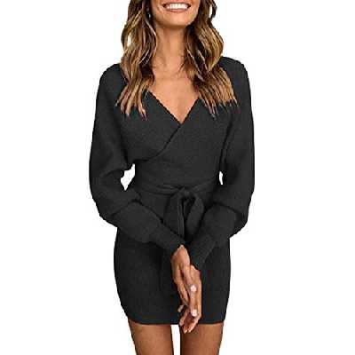 Asskdan Femme Elégant Robe Pull Tricoté Col V Croisé Manche Longue Robe Crayon avec Ceinture (Noir, S)