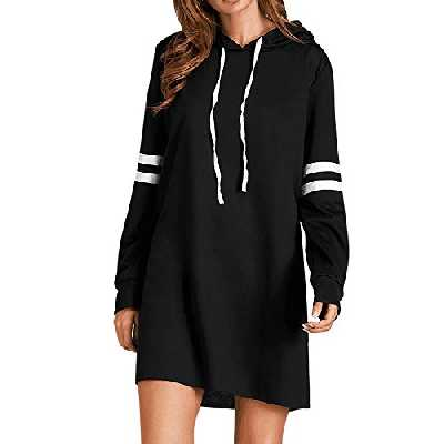 Covermason Femme Robe Sweat à Capuche Pull Robe Col Rond Manches Longue Pull Tunique Casual Sweat-Shirts Pullover Hauts Chemisier Jumper Casual Automne Hiver (XL, Noir)