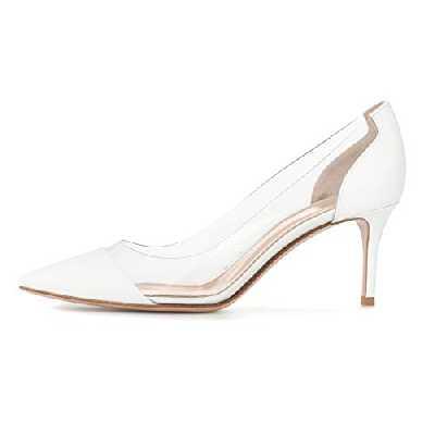 EDEFS Femmes Escarpins Talons Hauts Bout Pointu 6.5CM Chaussures de Bal Blanc Taille 35