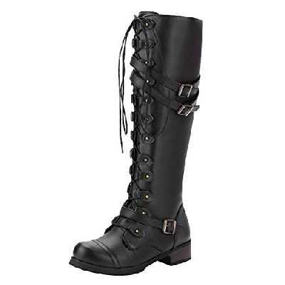 Bottes Hauteur Genoux Femme,Overdose Sexy Cuissardes Cuir Chaussures à Plate Cavalières Knight Boots