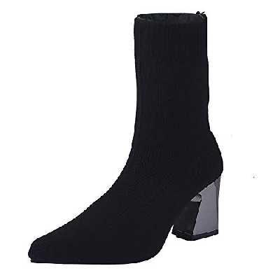 Bottes Chaussettes en Maille Noir Femme,Overdose Sexy Bottines à Talons Carré Haut Chaussures Large Chic Boots