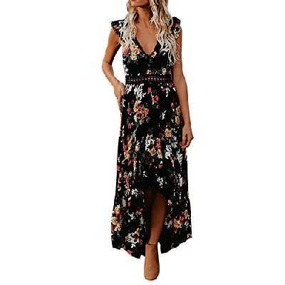 Jerfer - Robe de soirée décontractée à manches longues pour femmes, style automne, col V, fermeture à glissière - Noir - M
