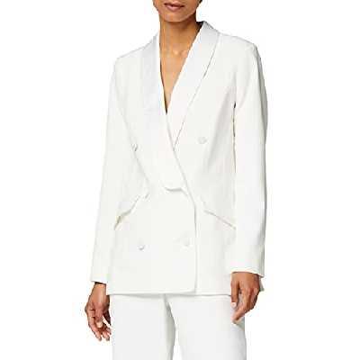 Marque Amazon - Truth & Fable Veste de Tailleur Longue Femme, Blanc (Ivory), 44, Label:XL
