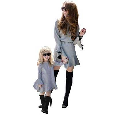 JEELINBORE Mère et Fille Chic Robes, Col Rond Flare Peplum Robe Décontractée Robe pour Fête Soirée - Gris, S (Maman)